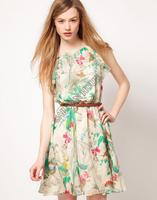 Женское платье Women's Round Neck Sleeveless Ruffles Chiffon Floral Printed Summer Dress #005 SV002645
