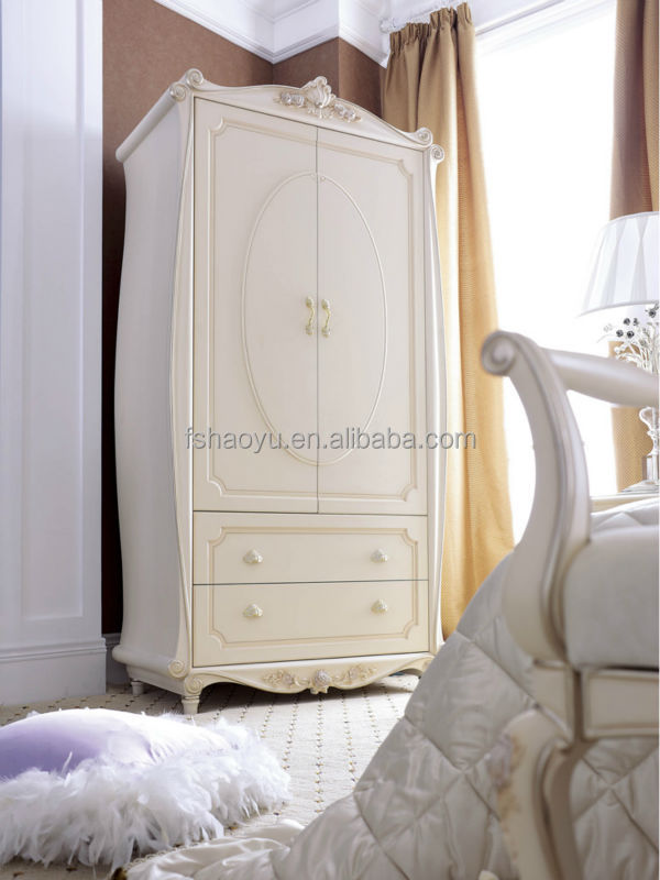Faux painting furniture - French Style Wooden Almirah Designs Ivory Bedroom Wardrobe