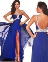 pp248 искрообразования бусы сексуальный спинки передних щели спагетти ремень Королевский синий длинные выпускные платья платья партия
