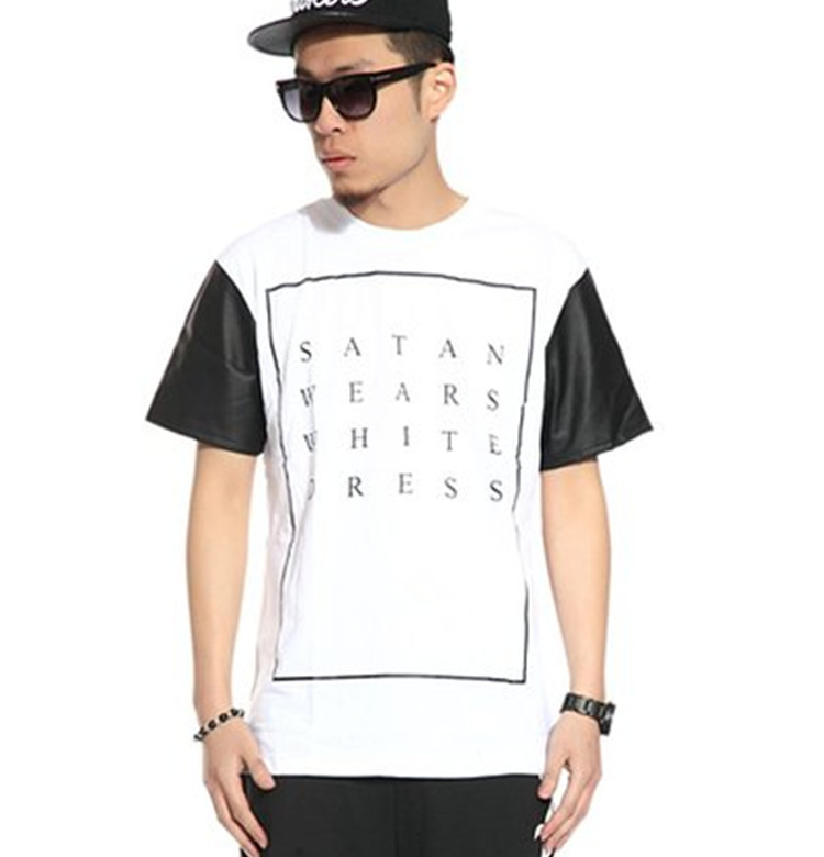 Custom print t shirt with leather sleeves view custom for Mens white leather shirt