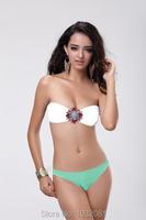 сексуальная мятный зеленый лаванды купальник бикини кристалл установить ювелирные стразы купальный костюм алмаз Купальники женщин v32 Бэйн де Майо