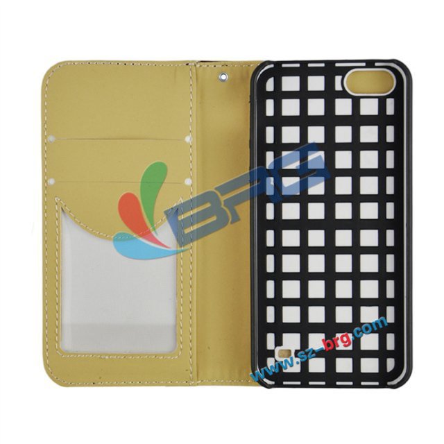 BRG- Double color TPU+PC soft Hybrid Combo leather case for iphone 5 wallet card slots