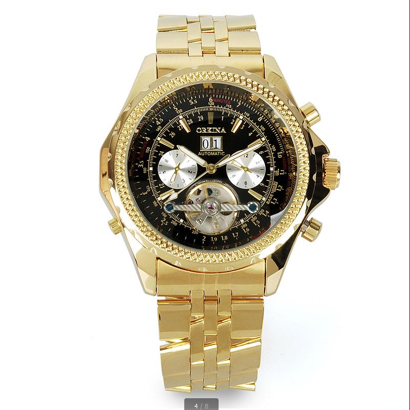 Человек смотреть blackcat Orkina Автоматические Механические Золото Наручные Часы Из Нержавеющей Стали Большой Циферблат Турбийоном Мужской Atmos Часы
