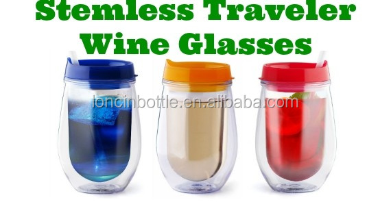 Wholesale insulated plastic stripped stemless wine glasses 10 oz acrylic stemless wine glass - Insulated stemless wine glasses ...