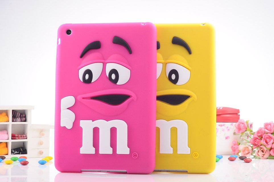 Kids 3D Cute cartoon M&M Silicone Chocolate Beans Case cover for ipad mini 1/2/3 50pcs/lot DHL