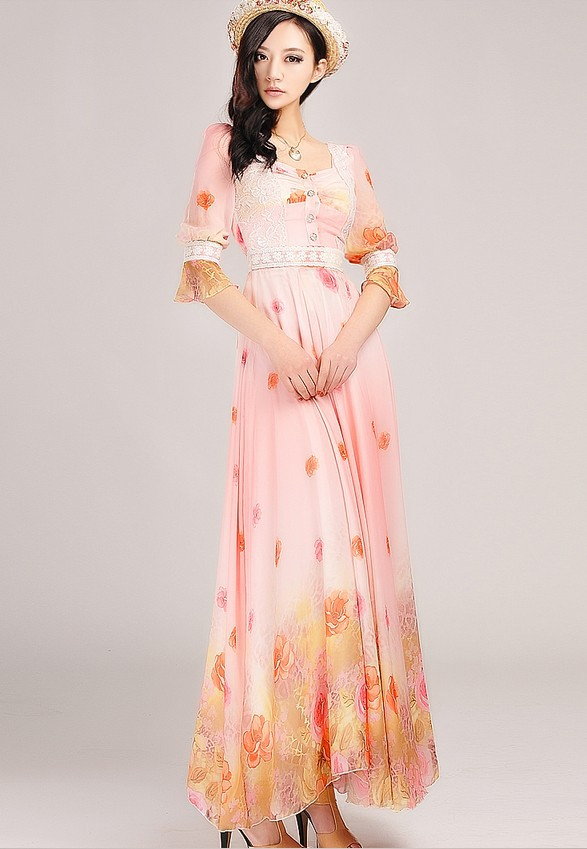 Three Quarter Sleeve Maxi Dress Maxi Dress Long Sleeve