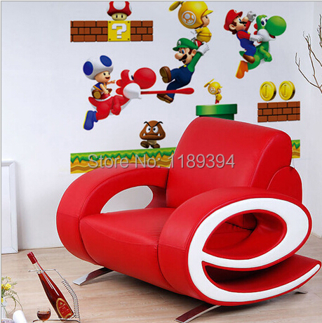 abnehmbaren wandtattoo super mario bros kinder junge kinderzimmer dekor tapeten in abnehmbaren. Black Bedroom Furniture Sets. Home Design Ideas