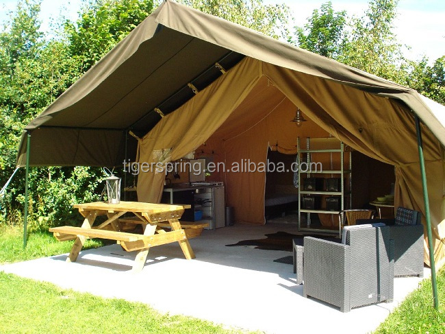 Luxury canvas living camping tent living tent living room for A frame canvas tents for sale