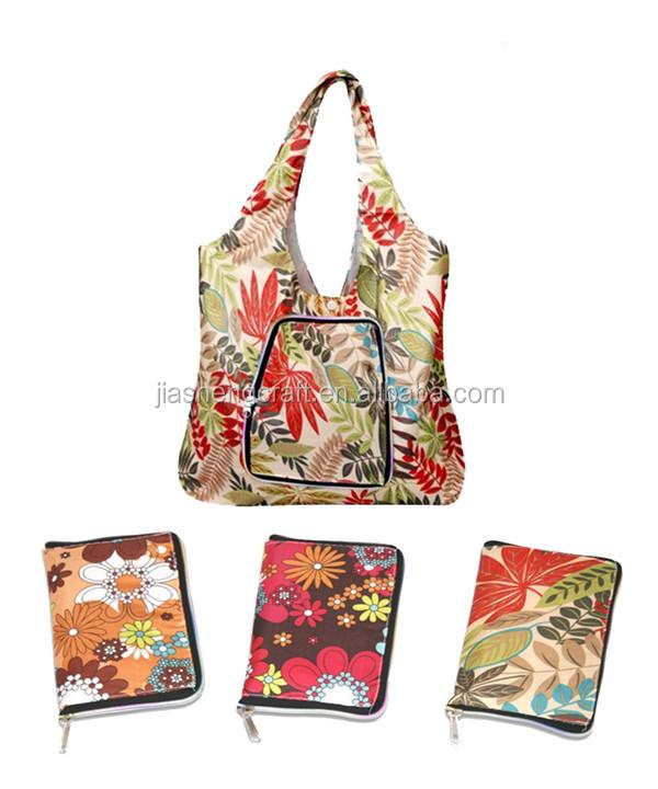 New Design nylon foldable shopping bag,nylon shopping bag in pouch