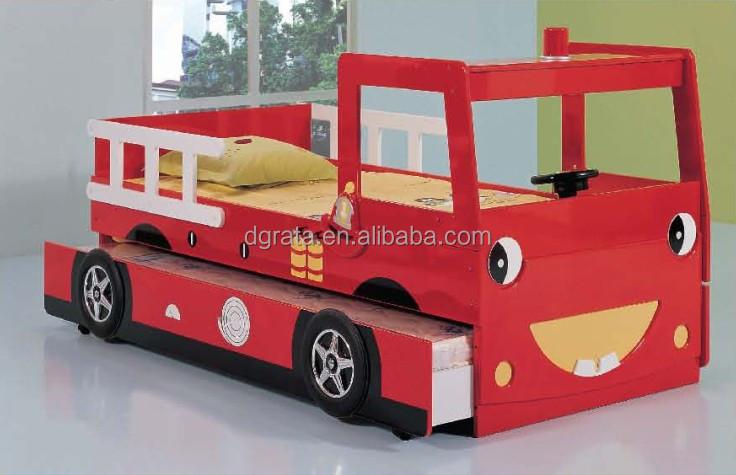 2014 belle enfants lit superposé fire engine est conception pour enfants en E1 MDF conseil et coloré peinture