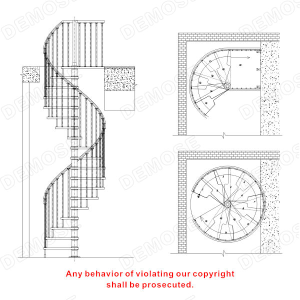 Draw spiral staircase with drawing view draw spiral for Spiral stair details