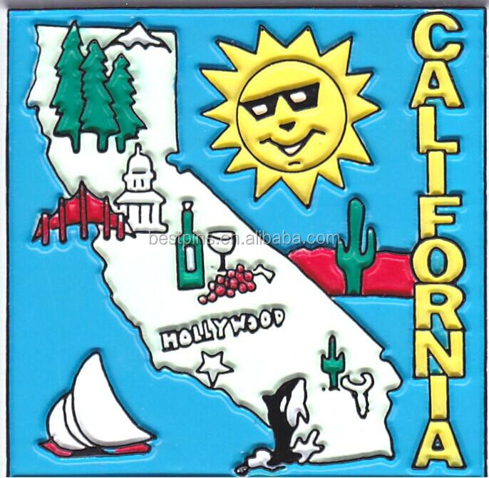 California State Square Magnet Rubber, California Souvenir Gifts PVC Magnet