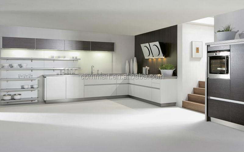 Moderne hoogglans blauwe keuken kastontwerp/u vorm keukenkast ...