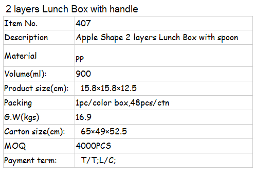 apple shaped double layer plastic lunch box with handle