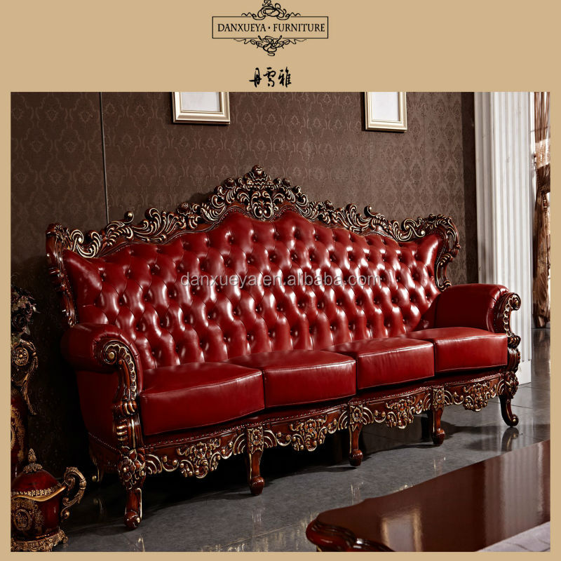 Red antique elegant french style living room luxury royal for Vintage style living room furniture