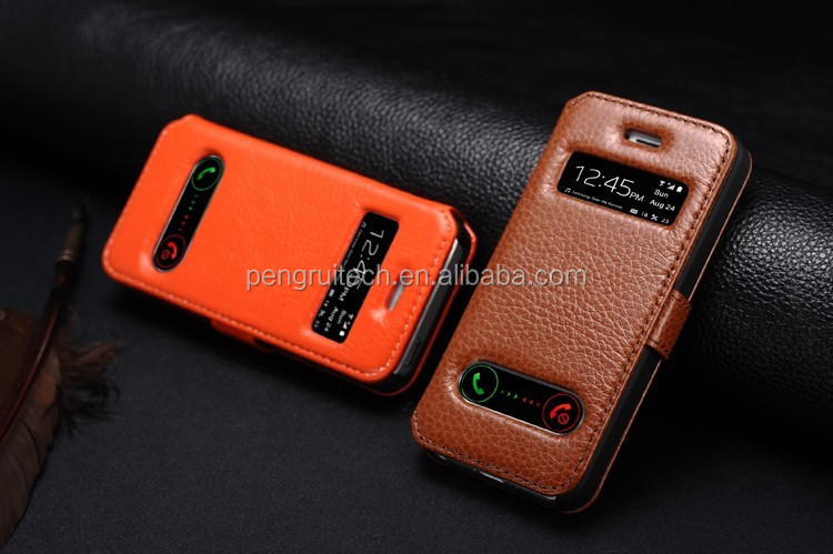 Fashionable style leather phone case for iphone5S5G, With window caller ID display leather phone case for iphone 5G5S
