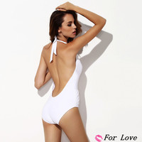 Женский закрытый купальник Star High Quality Fashion Victoria's Pure Color Deep V Neck Backless Halter One Pieces/Swimwear White FL140404