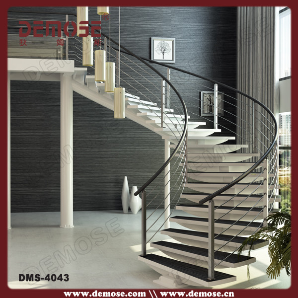 Modern Curved Steel Glass Stair Staircase Design For House