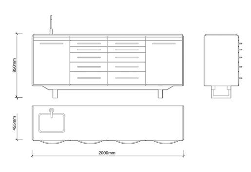 2 m tres cabinet avec tiroirs et bassin d 39 eau dans le for Meuble cabinet dentaire
