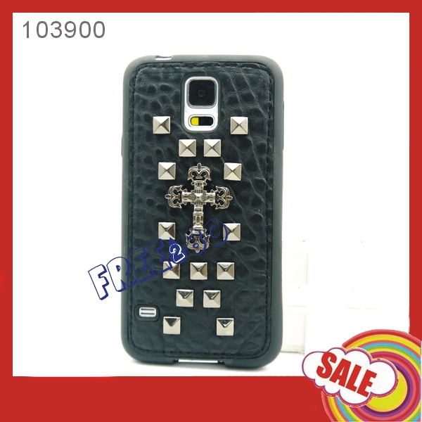 Punk Rock Style Cool Spike Rivet Stud TPU Back Cover Case for Samsung S5