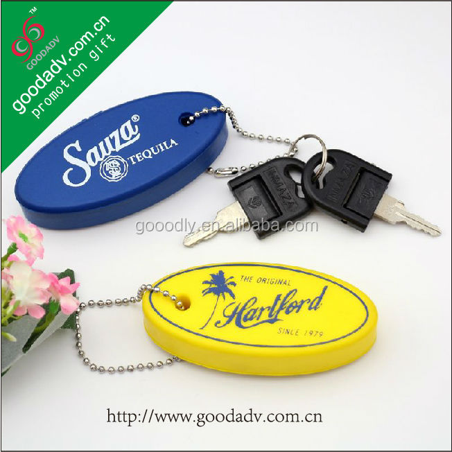 Innovative design low price oval shape floating pen keychain gift set