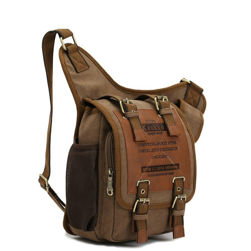 Top Quality Vintage Khaki Cotton Canvas Men Messenger Bag Travel Bags