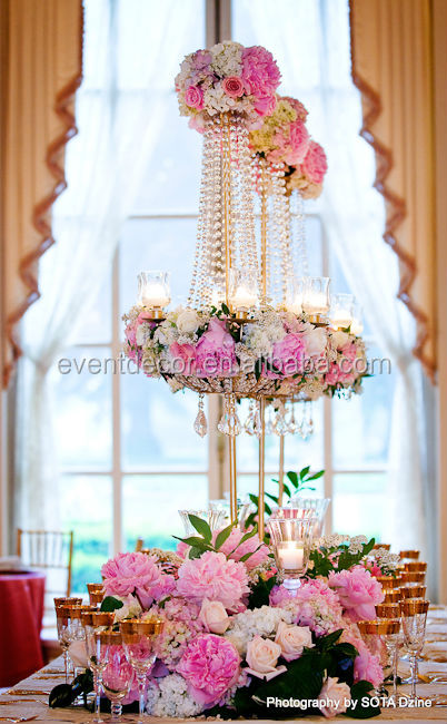 2014 new product wedding decoration flower stands table the crystal flower stands is made of acrylic crystals and metal you can put an artificial flowers on the wedding centerpieces for decoration junglespirit Image collections