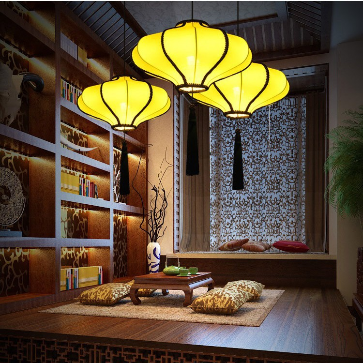 Chinese Elastic Cloth Lantern Pendant Lights Dining Room