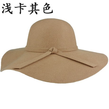 2014  Женщины Vintage Retro Шерсть Felt Crushable Wide Brim Cloche Fedora Floppy Sun Beach Spring Hat Cap Goth Bowknot Band
