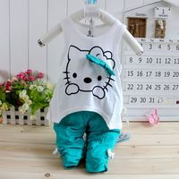 Комплект одежды для девочек Cheapest! new Retails Children Sports Hello kitty Pant Clothes Sets Summer baby Sport Suits T-shirt and kids pant