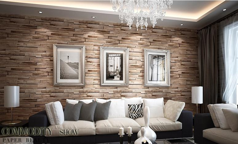 Luxury wood blocks brick wall effect vinyl 10m wallpaper for Brown wallpaper ideas for living room