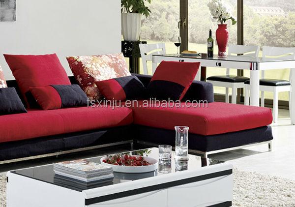 meubles de concepteurmoderne color canapnouvelle arrive de luxe mixte cuir et tissu canaplgant rouge et noir canap ensemble 8116b - Canape Colore