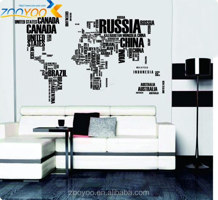 Large World Map Wall Sticker World Map Wall Sticker Large