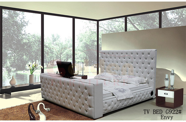 King Size Leather Bed With Automatic Tv Lift Frame On Sale