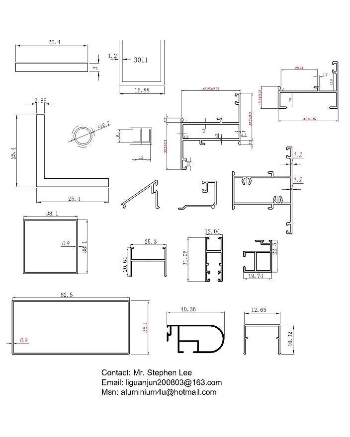 Aluminium Windows Parts : White color aluminum window parts profile for