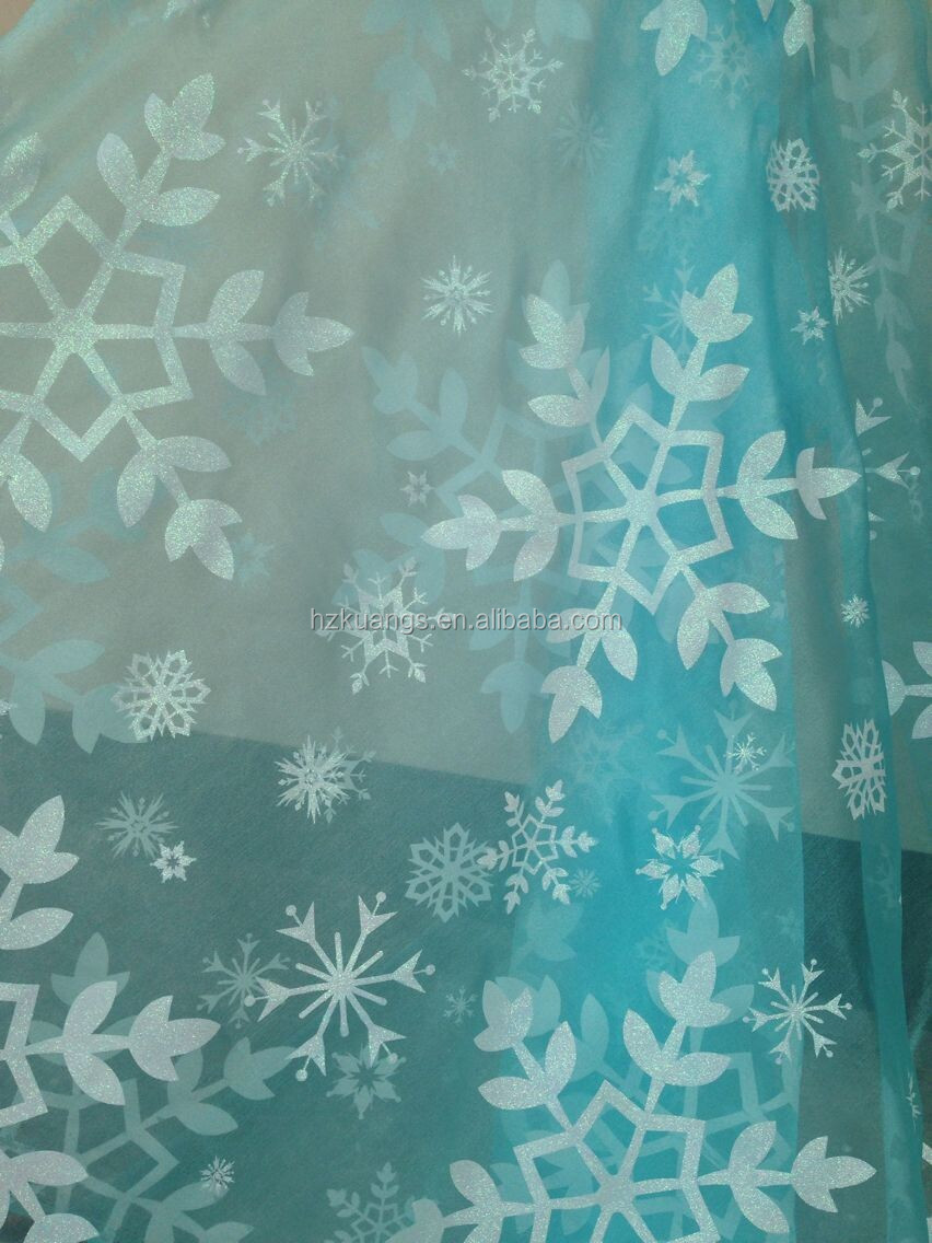 Blue Fabric With Snowflakes Snowflake Light Blue Shiny