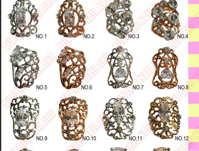 Newest Hollow Design Nail Jewelry 3d Metal Nail Art Decoration - Buy ...