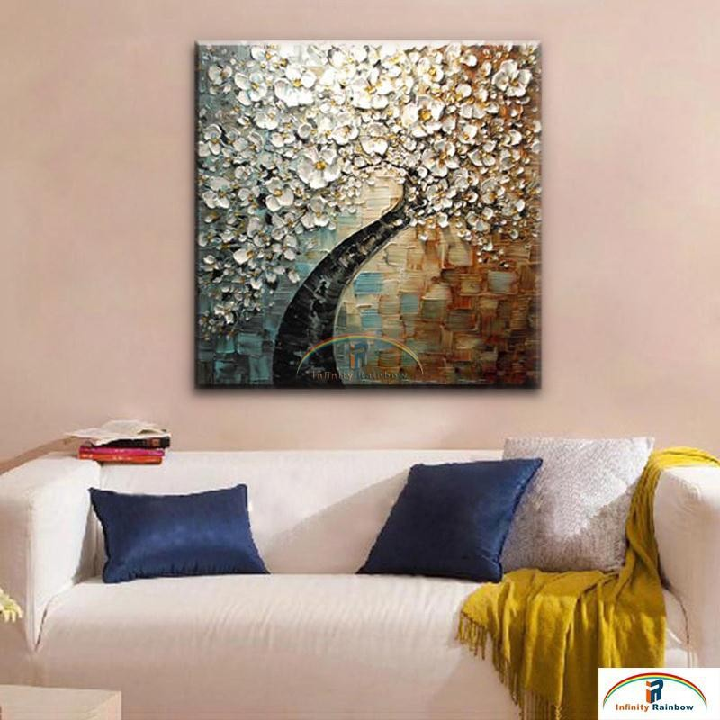 Buy 2016 Home Decor Hot Sale New Cuadros Fortune Rich Tree Handpainted Knife Thick Oil Painting On Canvas Wall Picture free Shipping cheap