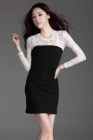 большой размер кружева элегантное платье жира Женские одежды женщина плюс размер длинный рукав платья высокого качества леди большая одежда d021