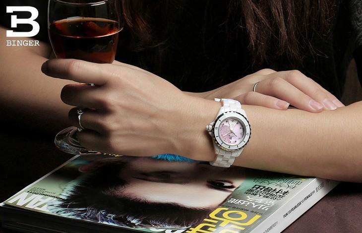 Новая мода Известный Бренд Бингер Эйфелева Башня смотреть Леди керамические часы оранжевый Высокое качество кварцевые платье желтый shell наручные часы