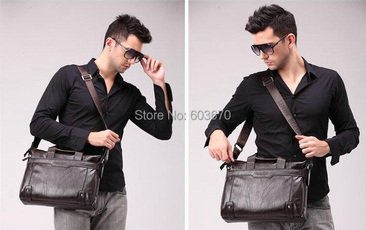 GENUINE LEATHER Commercial Handbag Messenger Bag LENWE BOLO Men's
