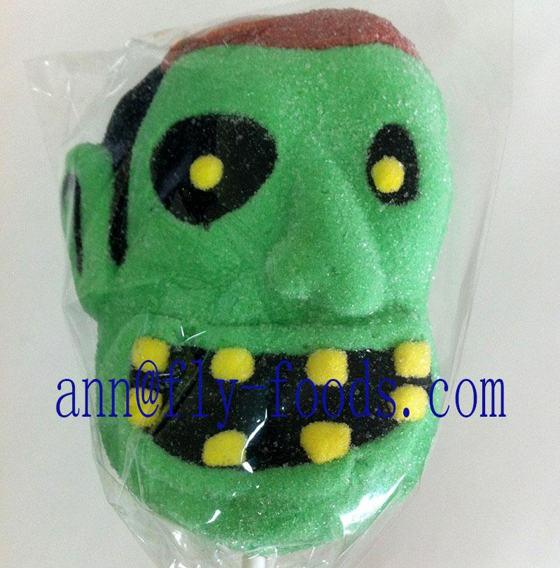 Green mask shapeindividual packing marshmallow lollipop