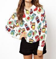 Подробности о милые блузки рубашки девочка мультфильм кокса сок может печатать с длинным рукавом