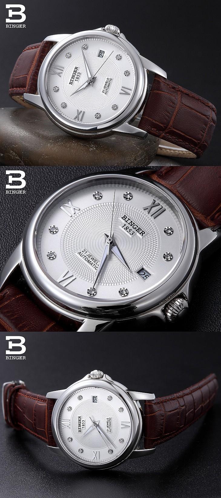 Мужчины полный стали Автоматическая Механическая аналоговый Римская Часы водонепроницаемые relogio часы на luxury brand 18 К Золото Binger наручные часы