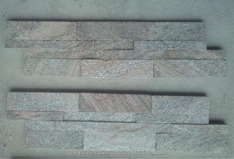 pink quartzite stacked ledge stone wall cladding backsplash veneer