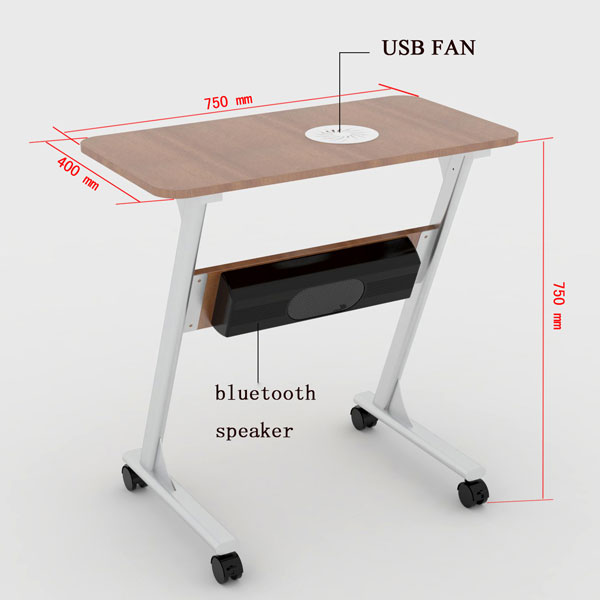 Ordinaire Moveable Music Desk With Casters And Speakers