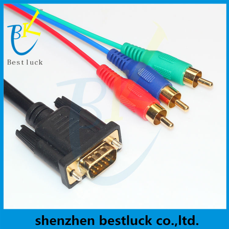 High quality vga to 3rca cable 15pin cable vga rca