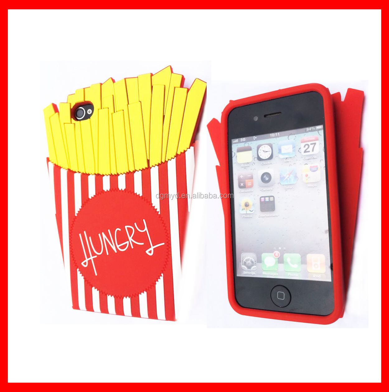 2015 Hot products strawberry silicone cell phone case for iphone 6 case plus