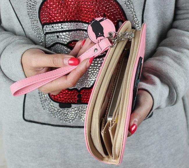 הרכש החדש חמוד ינשוף חלול הדפסה תלת ממדים מעוגל רוכסן ארוך נשים ארנק נשים מצמד ארנק הכסף מחזיקי כרטיס