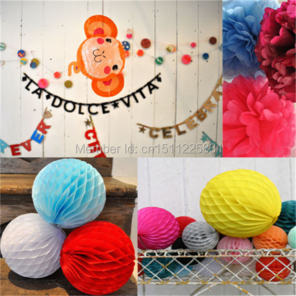 Multicolor Set Tissue Paper Honeycomb Balls Flower Pom Poms Wedding Backdrop Hanging Paper Decoration Round Lanterns